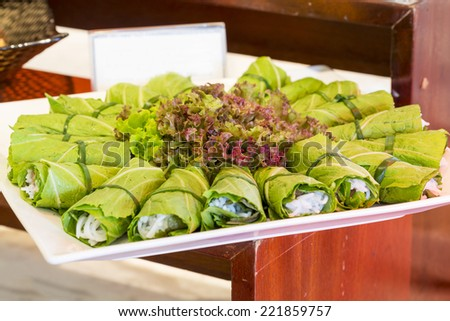 Summer Roll , Salad roll , Fresh Spring Roll , Vietnamese Food ( Banh Cuon) - stock photo
