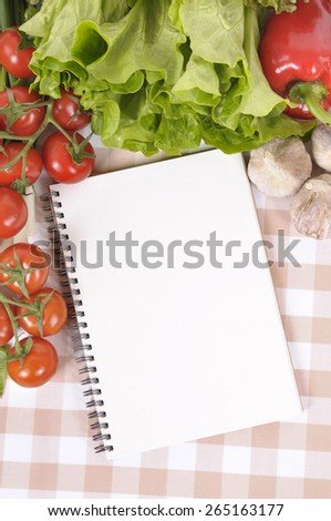 Summer salad, cookbook, copy space, vertical - stock photo