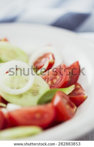 Summer Salad with Basil and Onion - stock photo