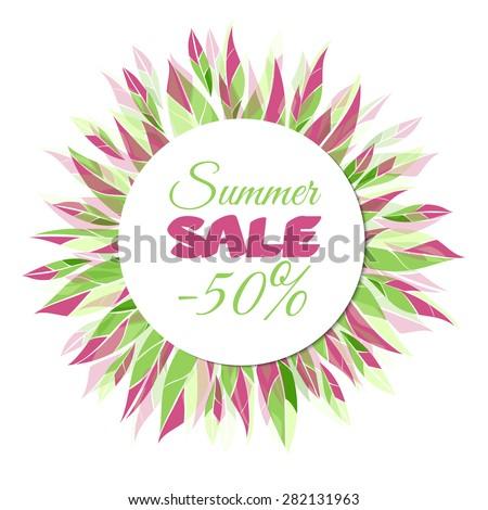 Summer sale banner. Floral frame for your design. Raster version - stock photo