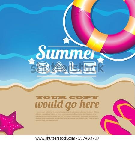 Summer sale inner tube background. - stock photo