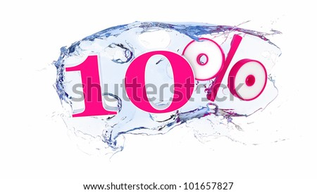 Summer sale or discount tags 10 percent water splash - stock photo