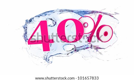 Summer sale or discount tags 40 percent water splash - stock photo