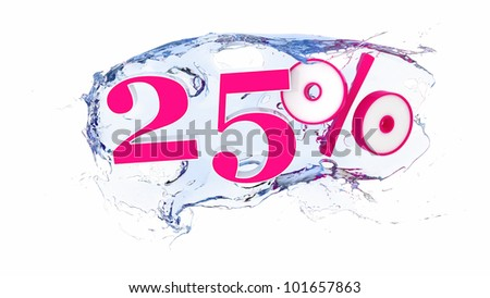 Summer sale or discount tags 25  percent water splash - stock photo