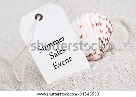 Summer Sales Event Tag with Shell - stock photo
