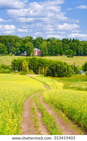 "Summer scene in countryside. Museum-reserve ""Manor Muranovo"" in distance. Moscow region, Russia - stock photo"