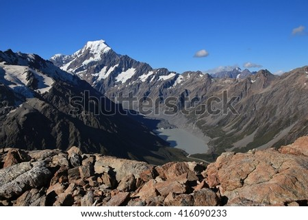 Summer scene in the Southern Alps. Majestic Mt Cook. - stock photo