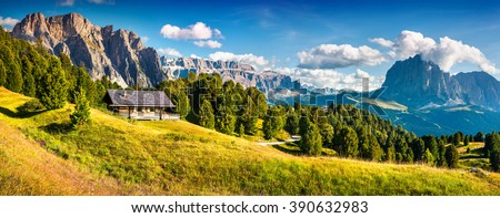 Summer scene with Pizes de Cir mountain range. Colorful sunny panorama of Gardena valley. Morning in Dolomite Alps, South Tyrol. Location Ortisei, S. Cristina and Selva Gardena, Italy, Europe. - stock photo