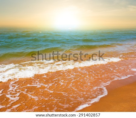 summer sea beach at the early morning - stock photo