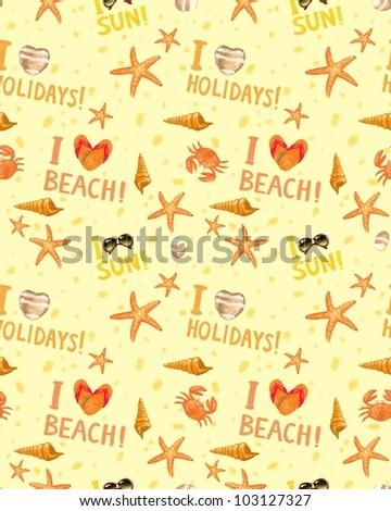 Summer seamless background, pattern - stock photo