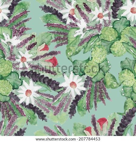 Summer seamless pattern - stock photo