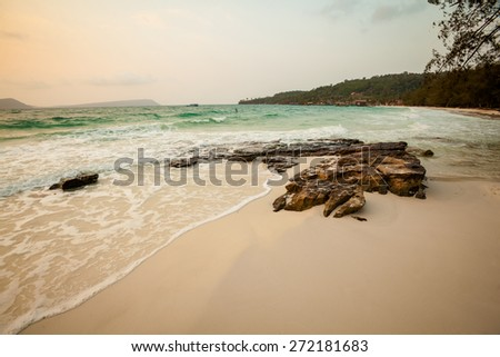 Summer seascape on tropical island Koh Rong in  Cambodia. Landscape of south east Asia. - stock photo