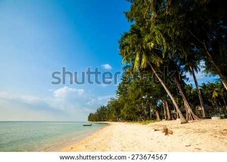 Summer seascape on tropical island Koh Samui in Thailand. Landscape of south east Asia. - stock photo