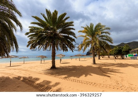 Summer seascape on tropical island Tenerife, Canary in Spain. Playa de Las Teresitas beach with gold sand brought from Sahara desert view. - stock photo