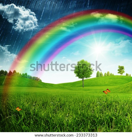 Summer seasonal backgrounds with beauty rainbow for your design - stock photo