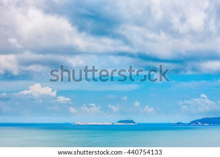 Summer Sky and Ocean, outdoor, nobody - stock photo