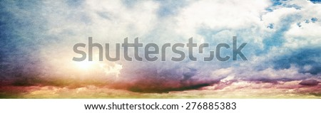 Summer sky. Canvas vintage background - stock photo