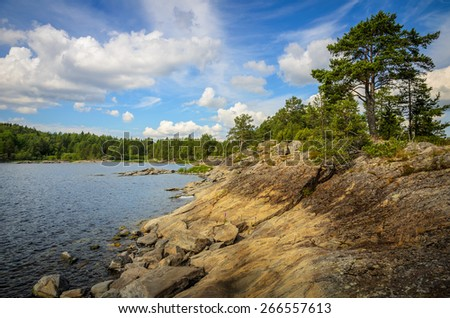 summer sky over the north lake - stock photo