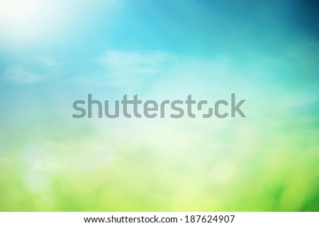 Summer sky with sunlight natural bokeh - stock photo