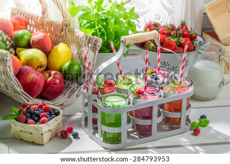 Summer smoothie with berry fruits - stock photo