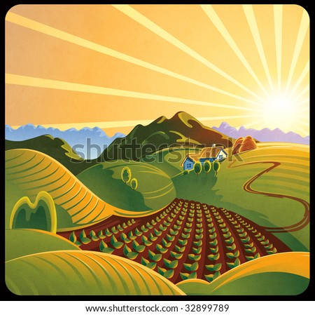 Summer solar rural landscape with a sunset and mountains - stock photo