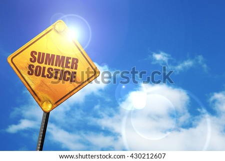 summer solstice, 3D rendering, glowing yellow traffic sign  - stock photo