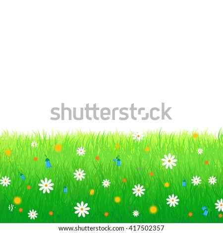 Summer, spring  illustration featuring lush meadow with colorful flowers isolated on white background. Great for greeting cards, web banners, sale advertising backgrounds and promotional leaflets - stock photo