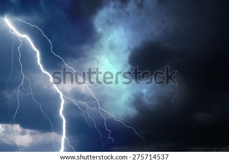 Summer storm bringing thunder, lightnings and rain. - stock photo
