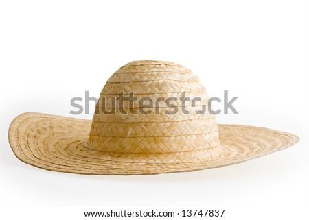 Summer straw hat isolated on white background. - stock photo