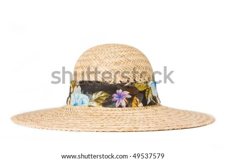 summer straw hat on a white background - stock photo