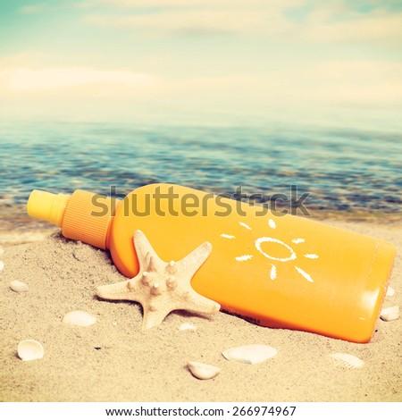 Summer sunbath on the beach - stock photo