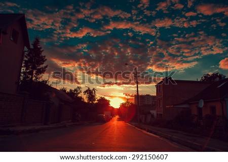 summer sunny street - stock photo