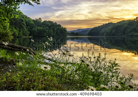 Summer sunset and mountain lake, Appalachian Mountains of Kentucky - stock photo