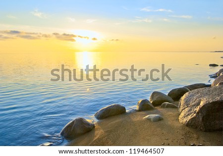 Summer sunset. Chudsky Lake ( Estonian title: Peipsi ).  Pskov region.  Russia - stock photo