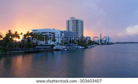 summer sunset miami south beach gulf panorama florida usa - stock photo