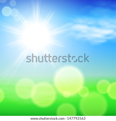 Summer sunshine background. Raster version of the loaded vector. - stock photo