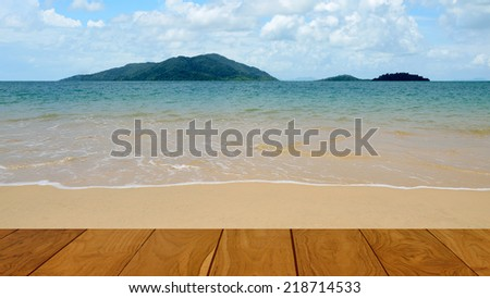 Summer time concept, Nice beach and deck - stock photo