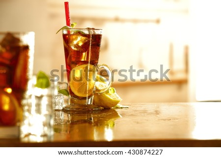 summer time in kitchen and decoration of ice tea  - stock photo