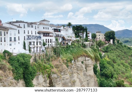Summer time in the village of Ronda in Andalusia, Spain - stock photo