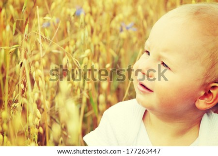 Summer Time. Small Baby Outdoors  - stock photo