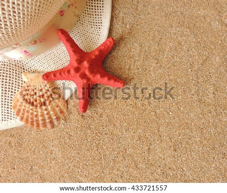 Summer time vacation composition on the sand. - stock photo