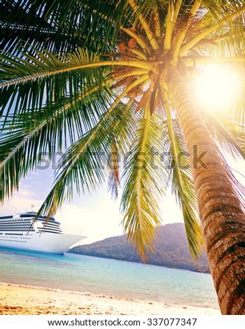 Summer Tropical Island Beach Cruise Ship Concept - stock photo
