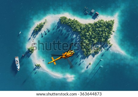 Summer tropical island. Small helicopter flying above private paradise tropical island with wind turbines energy and  bungalows - stock photo