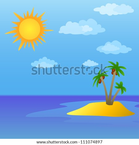Summer tropical sea landscape: sun, sky and island with palm trees - stock photo