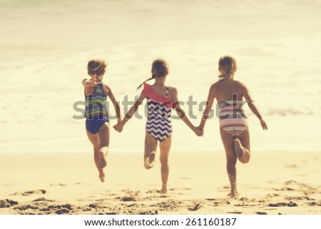 Summer Vacation at the Beach (blurred image) - stock photo