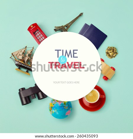 Summer vacation background mock up design. Objects related to travel and tourism around blank paper. View from above - stock photo