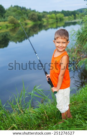 Stock images similar to id 106752422 photo of little boy for Little kid fishing pole