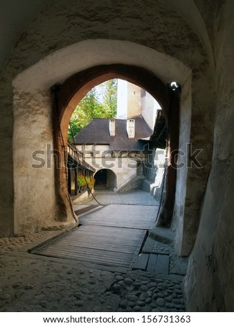 Summer view from inside to drawbridge and main gate of Orava Castle. Orava Castle is located in Oravsky Podzamok town, northern Slovakia and it is one of the most visited castles in Slovakia. - stock photo