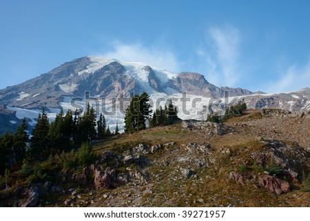 Summer view of Mt Rainier - stock photo