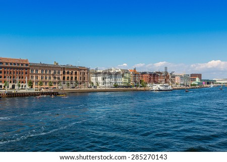 Summer view of old city and canal in Copenhagen, Denmark - stock photo
